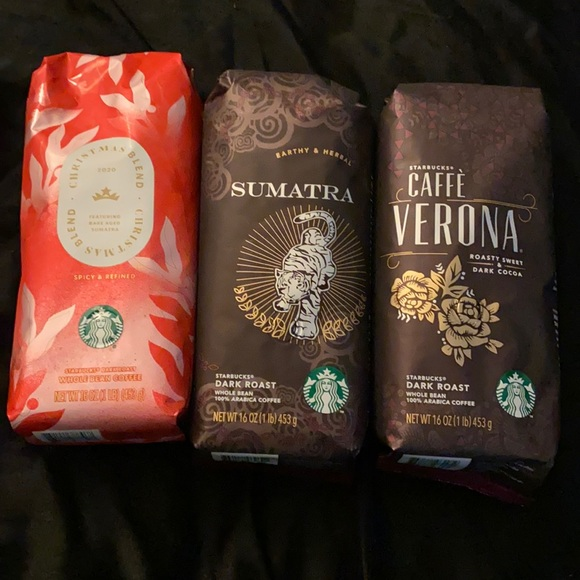 Sealed dark roast whole bean Starbucks coffee